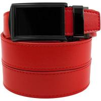 SlideBelts Genuine Leather Automatic Belt - Custom Fit (Black Buckle with Crimson Red Leather Belt)