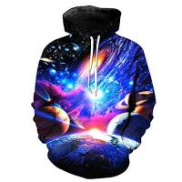 Couples Apparel Friend Hoodies For Girls Bluepistil Hoodies Sweatshirts Unisex Funny 3D Print Celestial Body Galaxy Pattern Pullover M-6XL Large Size (Asia 6XL, Blue)